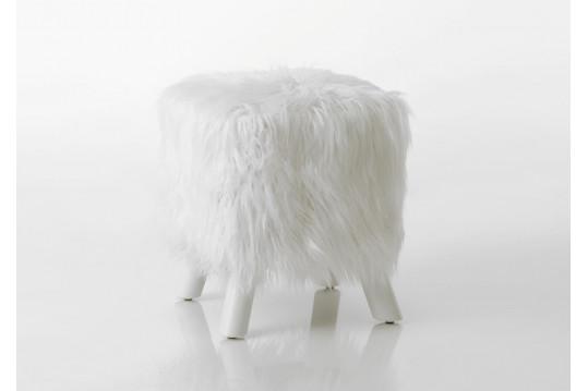 Tabouret blanc avec fourrure