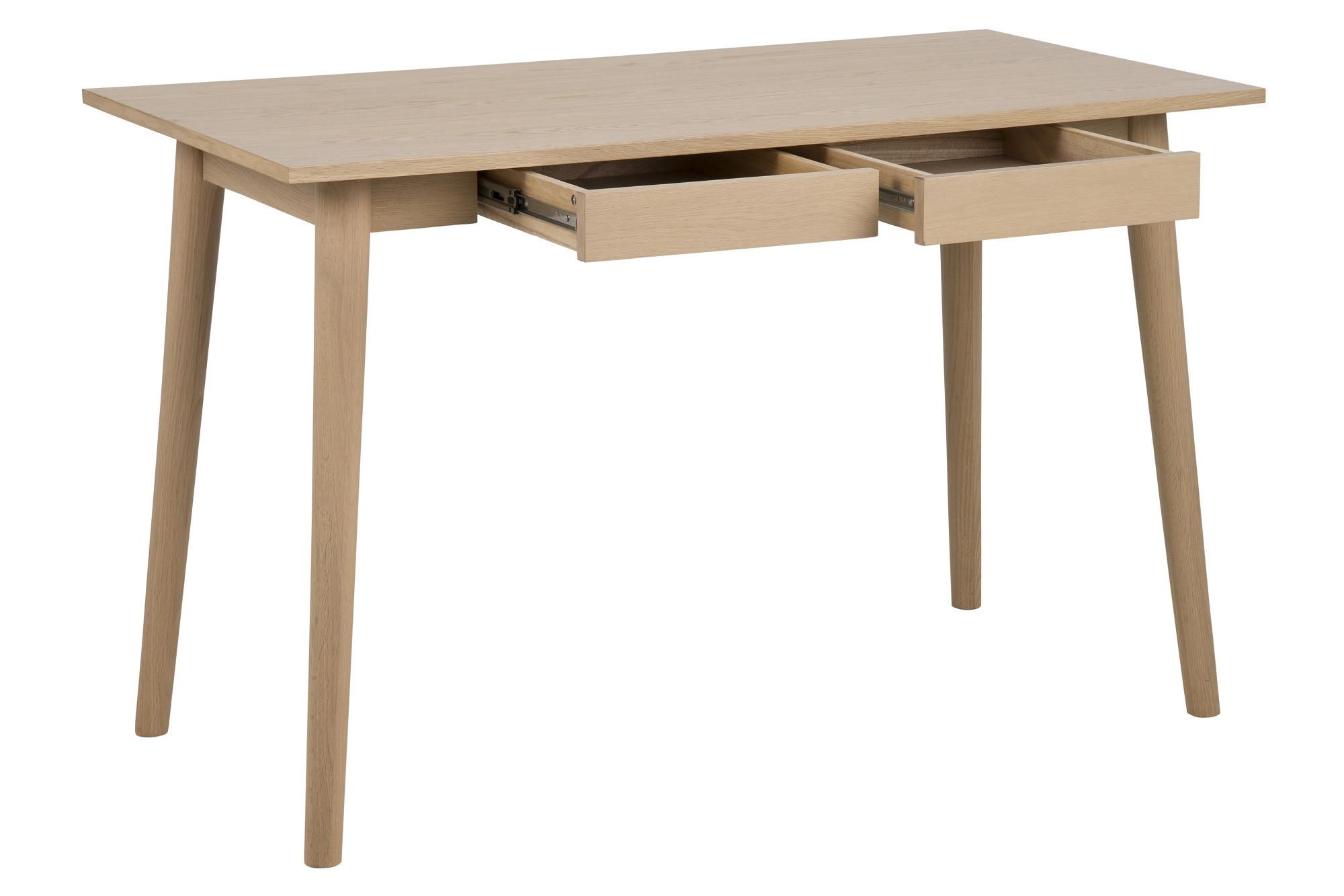 Un bureau épuré en bois massif et 2 tiroirs hellin