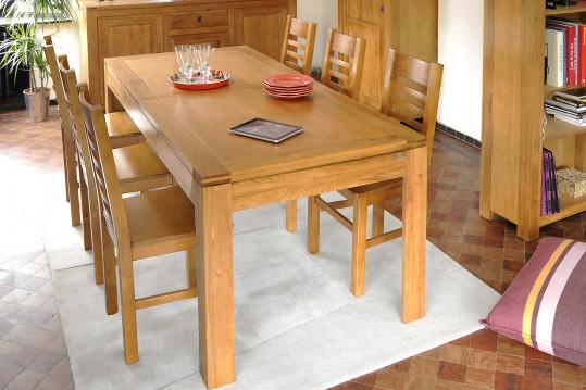 Ensemble Boston en chêne clair : Table + 6 chaises assise bois