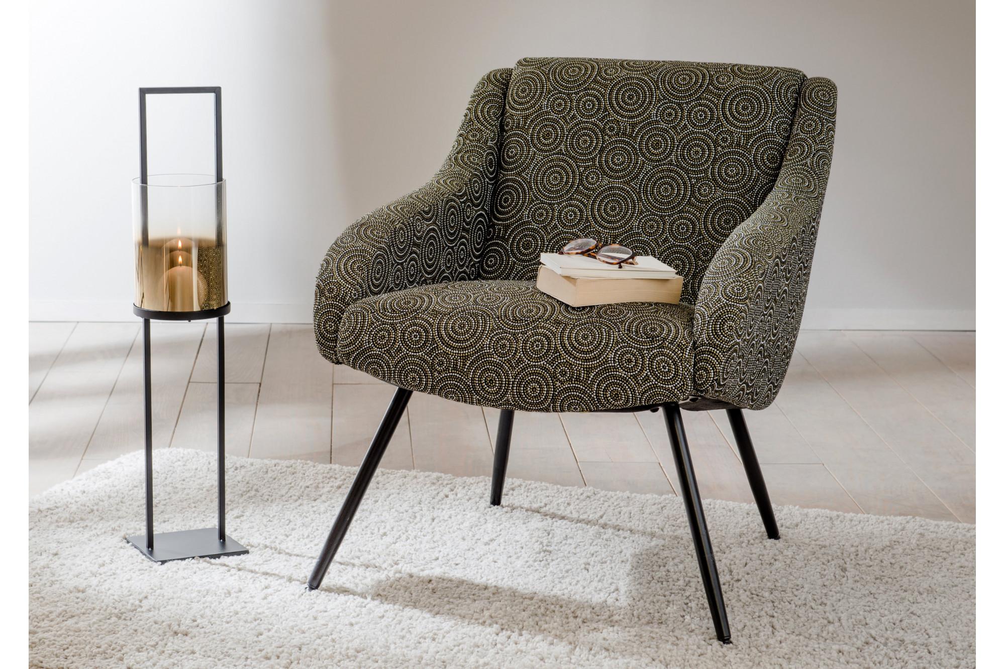 fauteuil en tissu motifs jacquard avec pitement en mtal noir - Fauteuil En Tissu