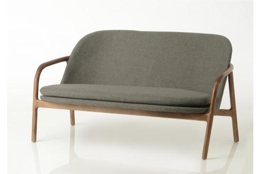Canapé en bois et tissu coloris lin Métro