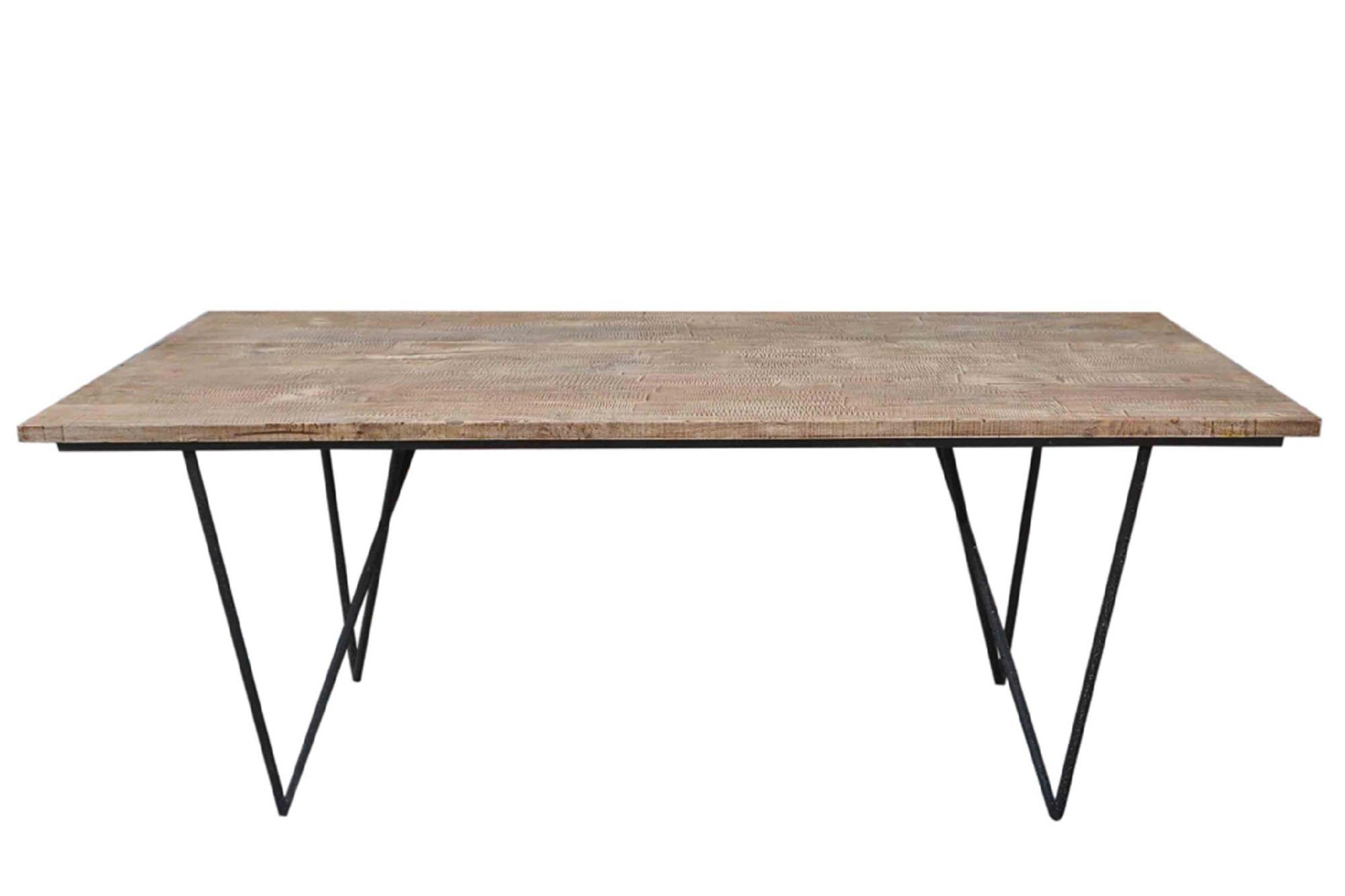 Table A Manger Bois Et Metal.Table A Manger Rectangulaire En Bois Et Metal Hellin