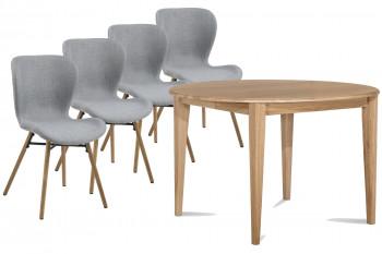 Table ronde pieds fuseau 115 cm + 4 chaises Matilda