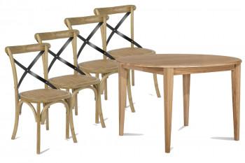 Ensemble Table ronde Pieds Fuseau 115 + 4 Chaises Bistrot