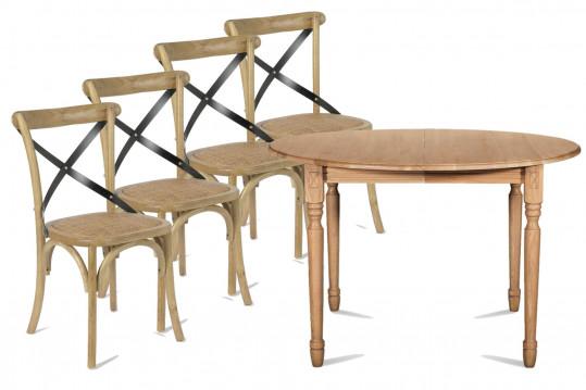 Ensemble Table ronde Pieds tournés + 4 Chaises Bistrot