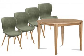 Table ronde pieds Fuseau 105 cm VICTORIA + 4 chaises Matilda