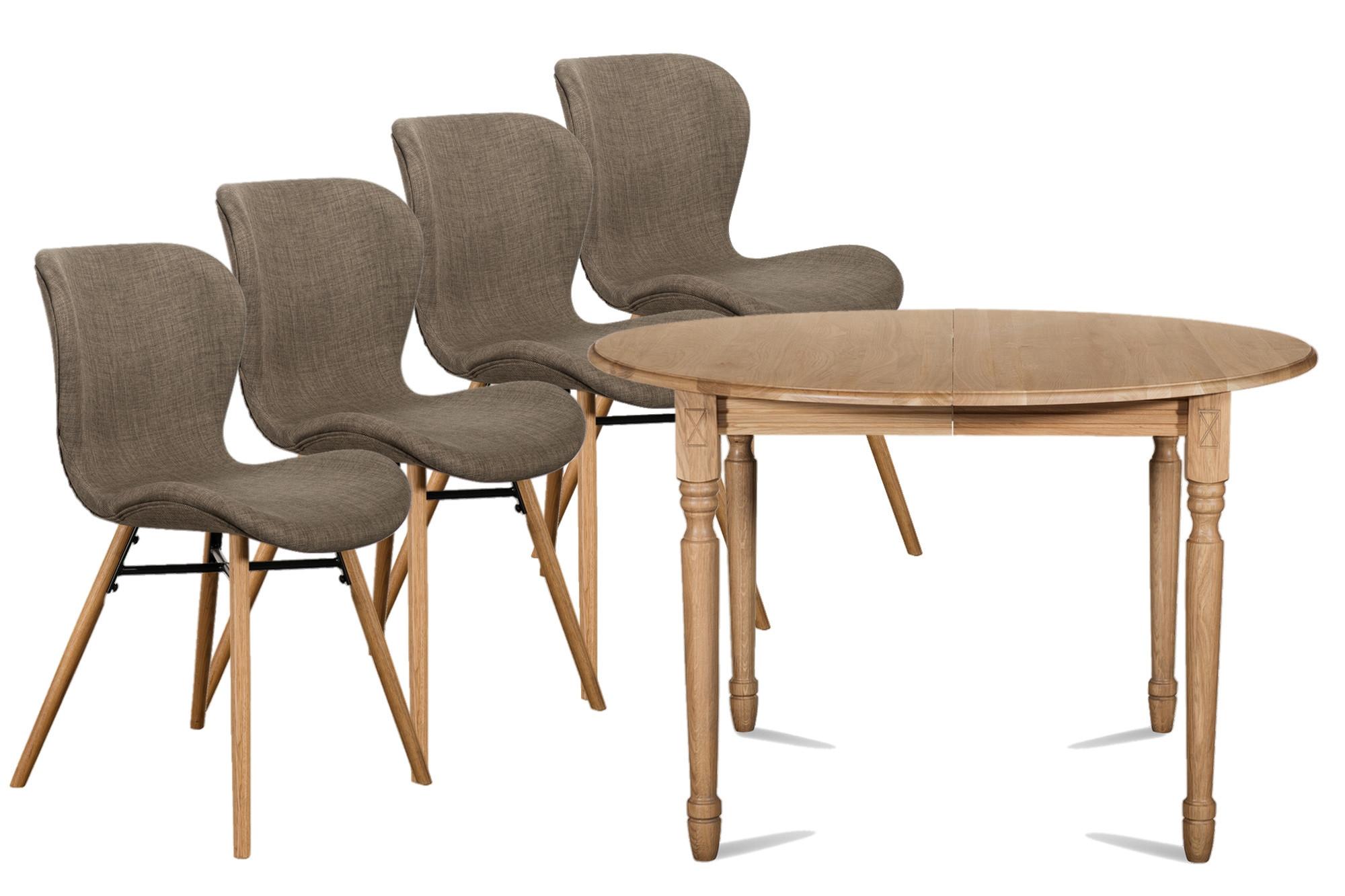 ensemble table ronde extensible victoria 4 chaises. Black Bedroom Furniture Sets. Home Design Ideas