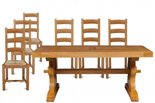 Ensemble table monastère l 180 + 6 chaises La Bresse