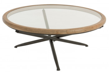 Table basse ronde plateau verre/bois