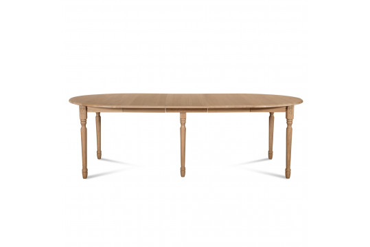 Table ronde VICTORIA 6 pieds tournés D105 + 3 rallonges bois