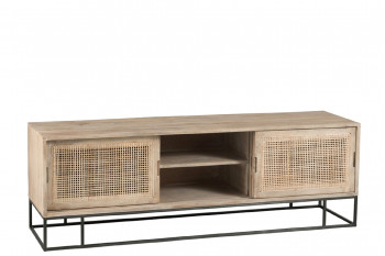 Meuble TV bas en bois et rotin tissé SAND