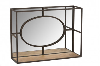 Grand Miroir mural avec cadre en métal et tablette bois L 59