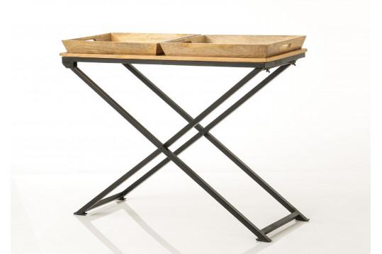 Grande console en bois massif et métal - APOLLINE