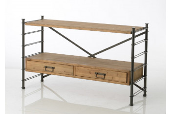 Console modulable en bois métal 2 tiroirs - Alane