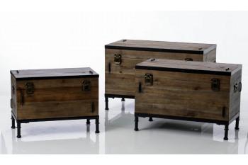 Lot de 3 Coffres de rangement en bois - Agar