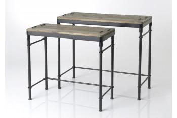 Lot de 2 Consoles en bois et métal - Agar