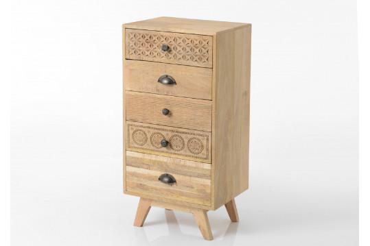 Chiffonnier en bois 5 tiroirs - Ethnique