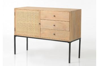 Meuble 1 porte 3 tiroirs en bois et rotin tissé - GAMET