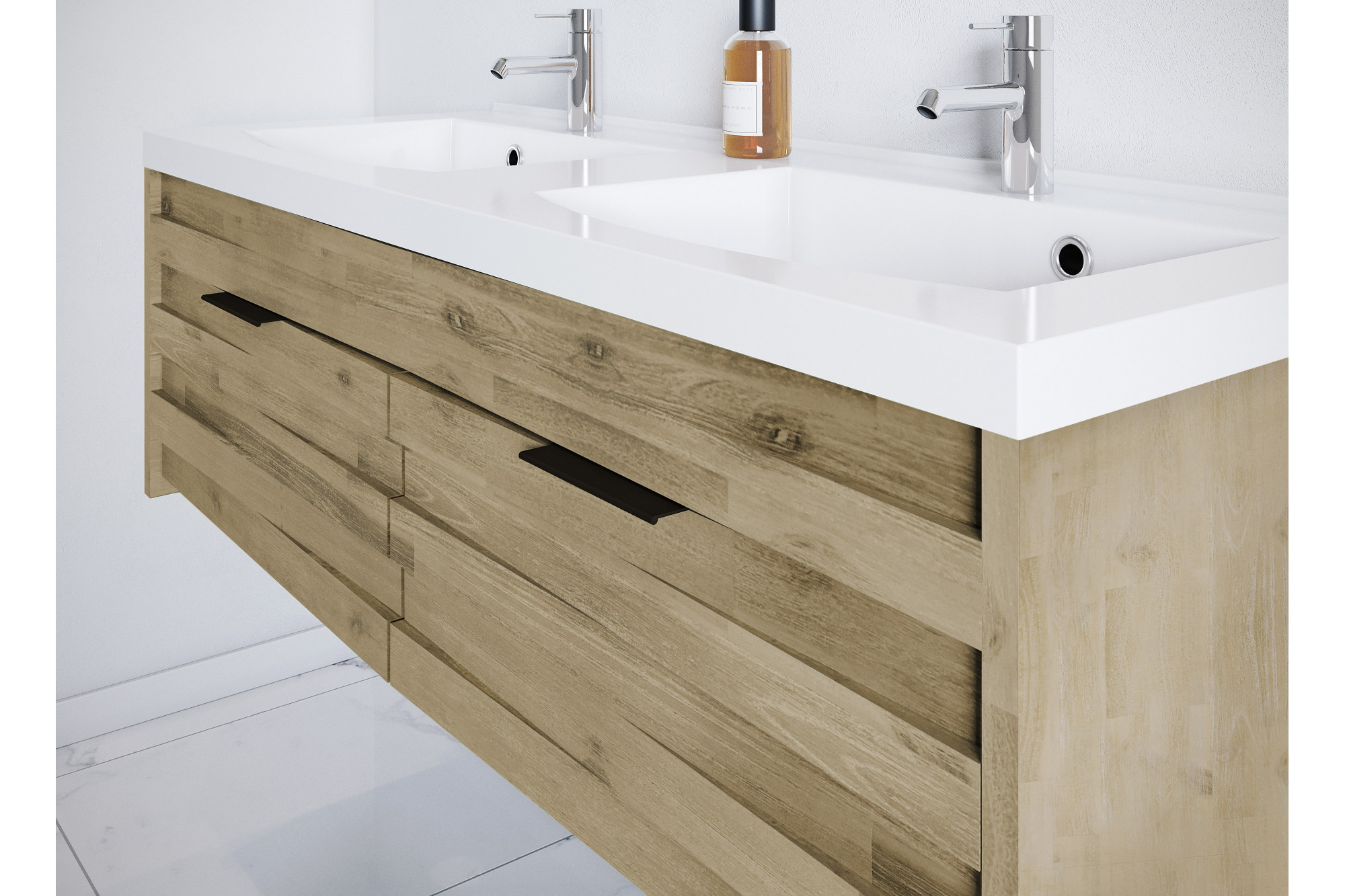 meuble de salle de bain en bois massif avec double vasque. Black Bedroom Furniture Sets. Home Design Ideas