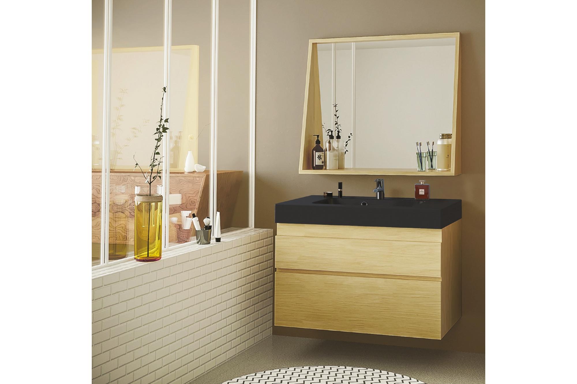 Salle De Bain En Longueur meuble de salle de bain en bois avec sa vasque noir mat et son miroir -  hellin