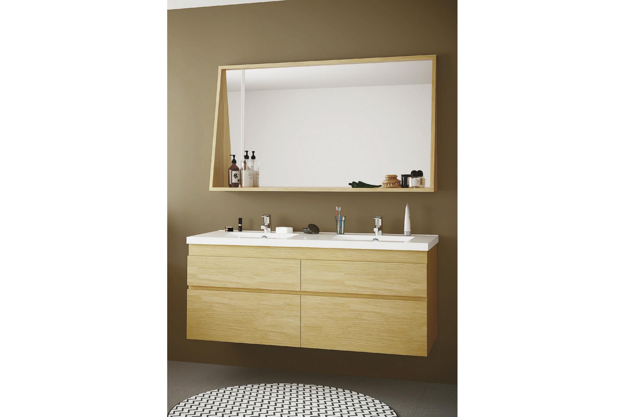 Meuble Haut Salle De Bain Avec Miroir meuble de salle de bain en bois massif 120 cm avec double vasque et miroir  - hellin