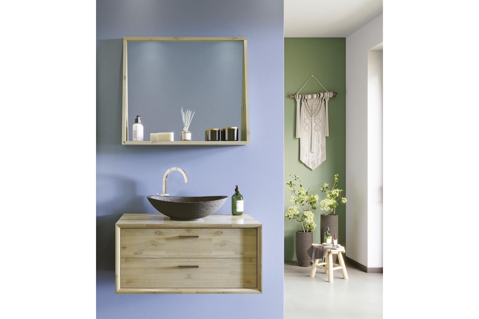 Salle De Bain Image meuble de salle de bain en bois massif avec vasque en pierre naturelle et  miroir - hellin