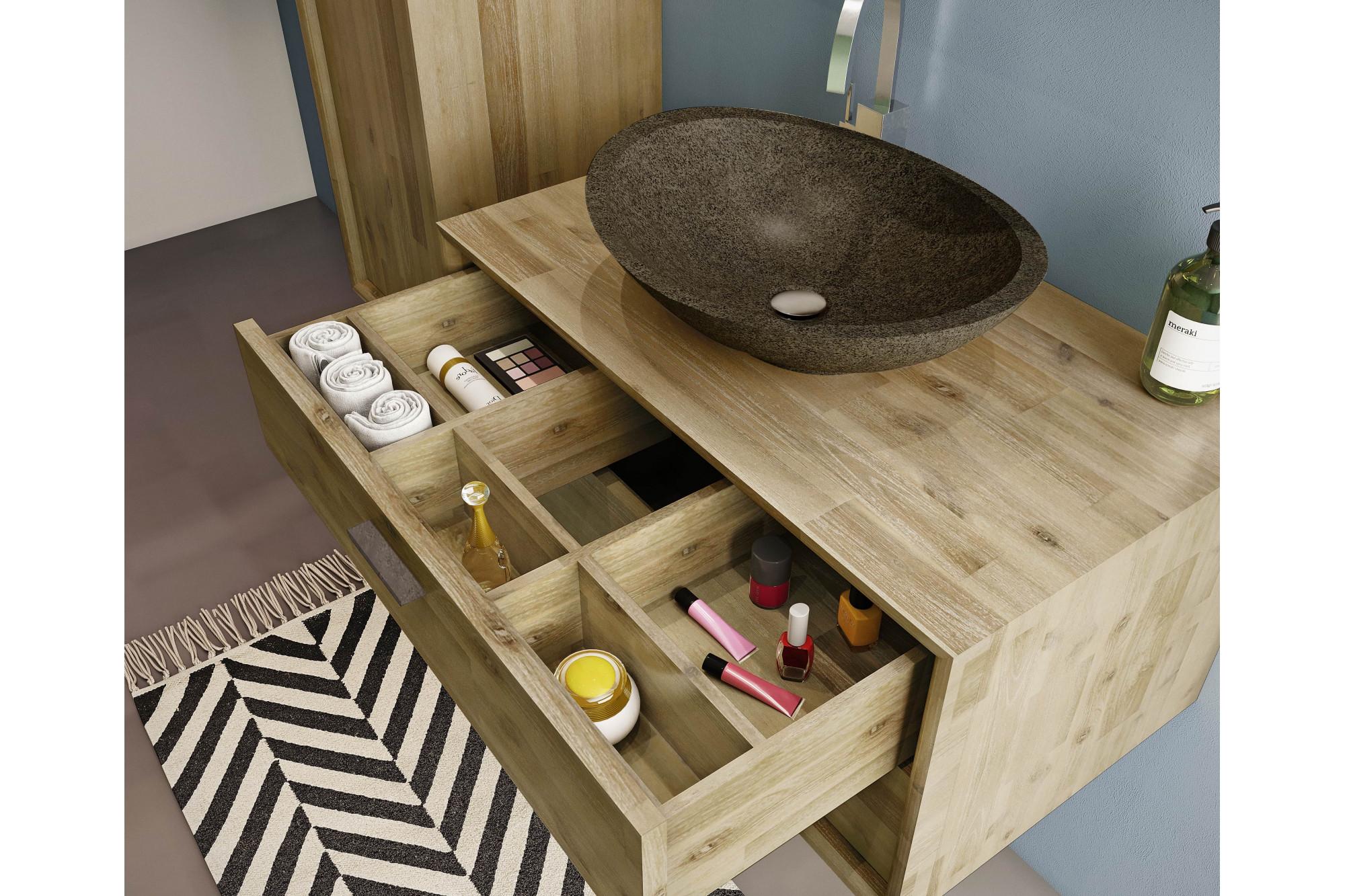 Meuble de salle de bain en bois massif et sa vasque en pierre naturelle -  Hellin