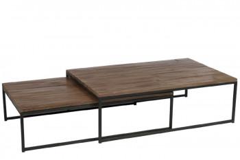 Tables basses gigogne en bois et métal - ALLEN