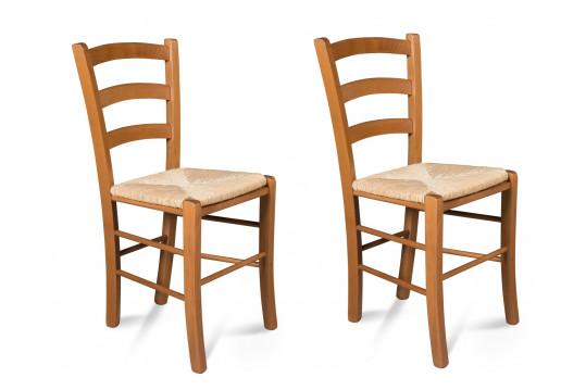Chaises bois - assise paille - TINA (Lot de 2)