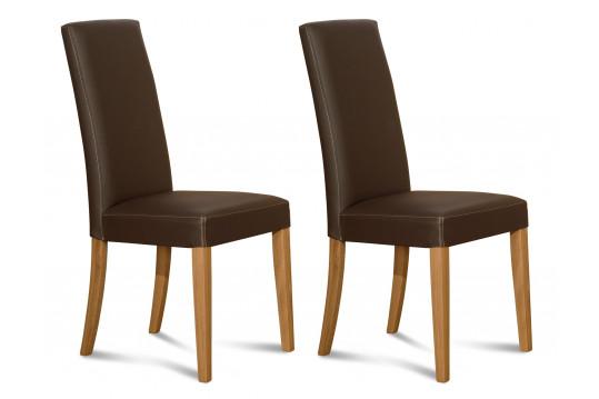 Chaises en cuir et chêne - NANCY (Lot de 2)