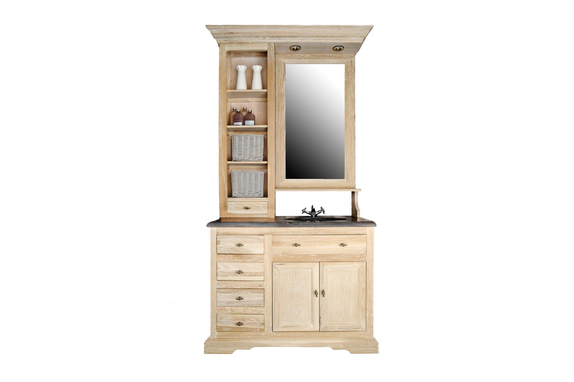Meuble Haut Salle De Bain Avec Miroir meuble de salle de bain en chêne blanchi avec vasque, éclairage et miroir -  hellin