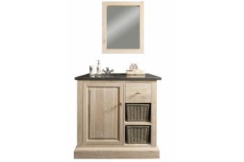 Meuble de salle de bain simple vasque + miroir - ensemble VÉRONE
