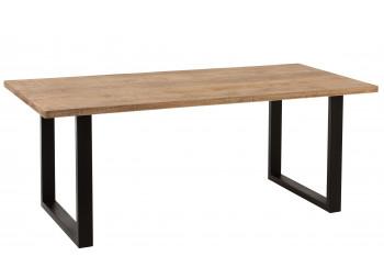 Table à manger rectangulaire en bois, pieds métal - JONAS