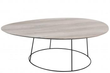 Grande table basse ovale en bois et métal - PEARL
