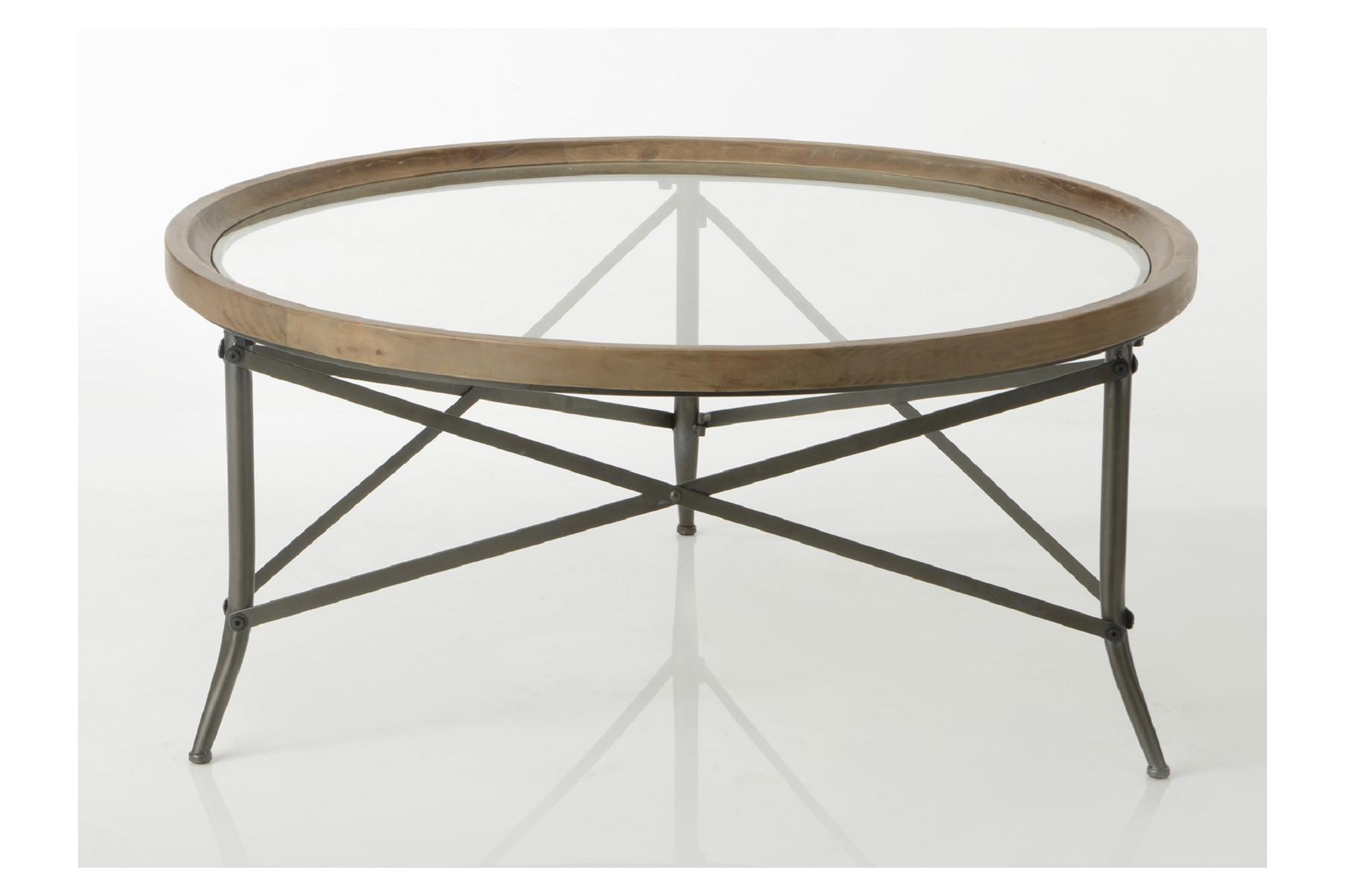 Table Basse Ronde Verre.Table Basse Ronde En Bois Et Pieds Metal Hellin