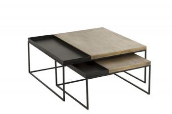 Table basse gigogne métal, set de 2 - URBAN
