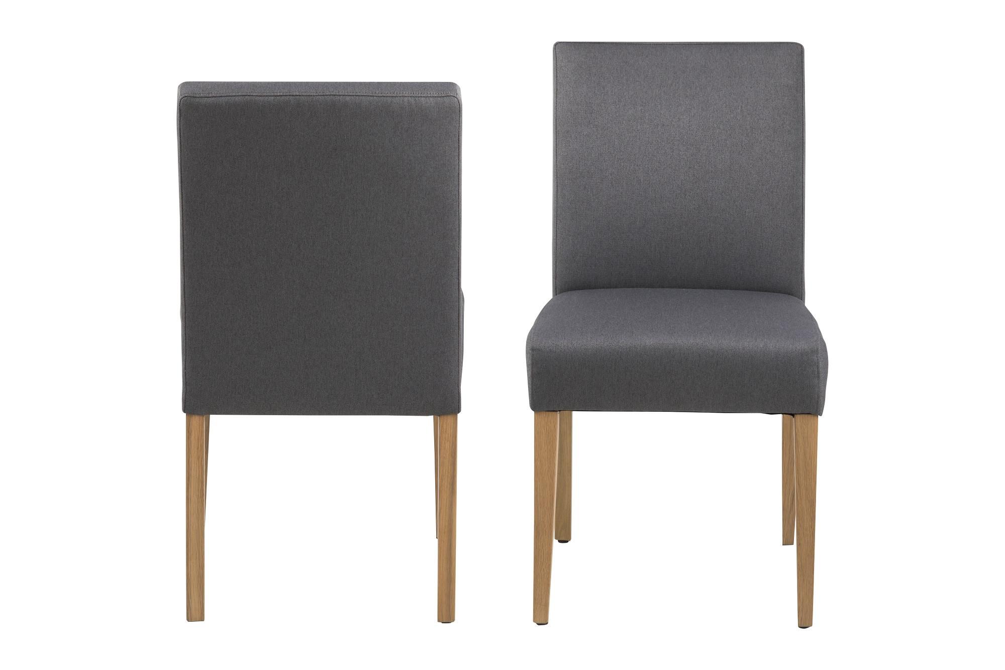Quel Tissu Pour Chaise lot de 2 chaises en tissu anthracite et bois : modèle ida - hellin