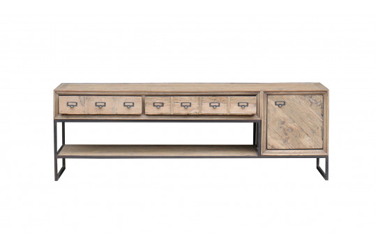 Meuble TV 1 porte - 2 tiroirs en chêne recyclé - BALMA