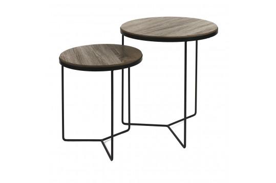 Tables basses ronde en bois et métal, le lot de 2 - MISO
