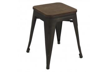 Tabouret en métal noir et bois (Lot de 4) - LITO
