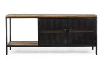 Meuble TV 2 portes en métal et bois - GALIC