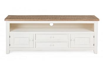 Meuble TV 2 portes - 2 tiroirs en bois - ELVIRA