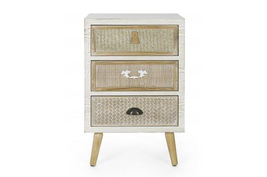 Table de chevet en bois 3 tiroirs - ELISE