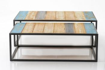 Table basse gigogne bois et métal (lot de 2) MEXIQUE