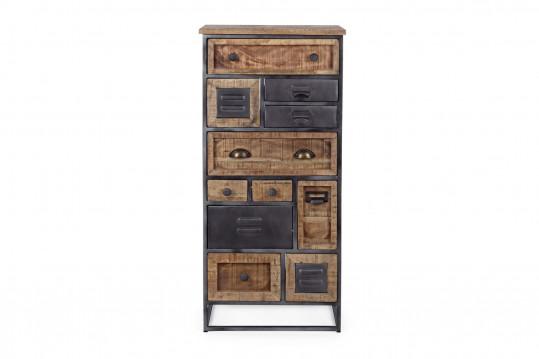 Chiffonnier 11 tiroirs en bois et métal - BRONX