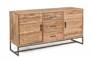 Buffet 2 portes 3 tiroirs bois et métal - MICHIGAN