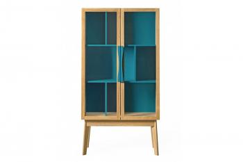 Vitrine moderne et colorée en bois 2 portes AVALON