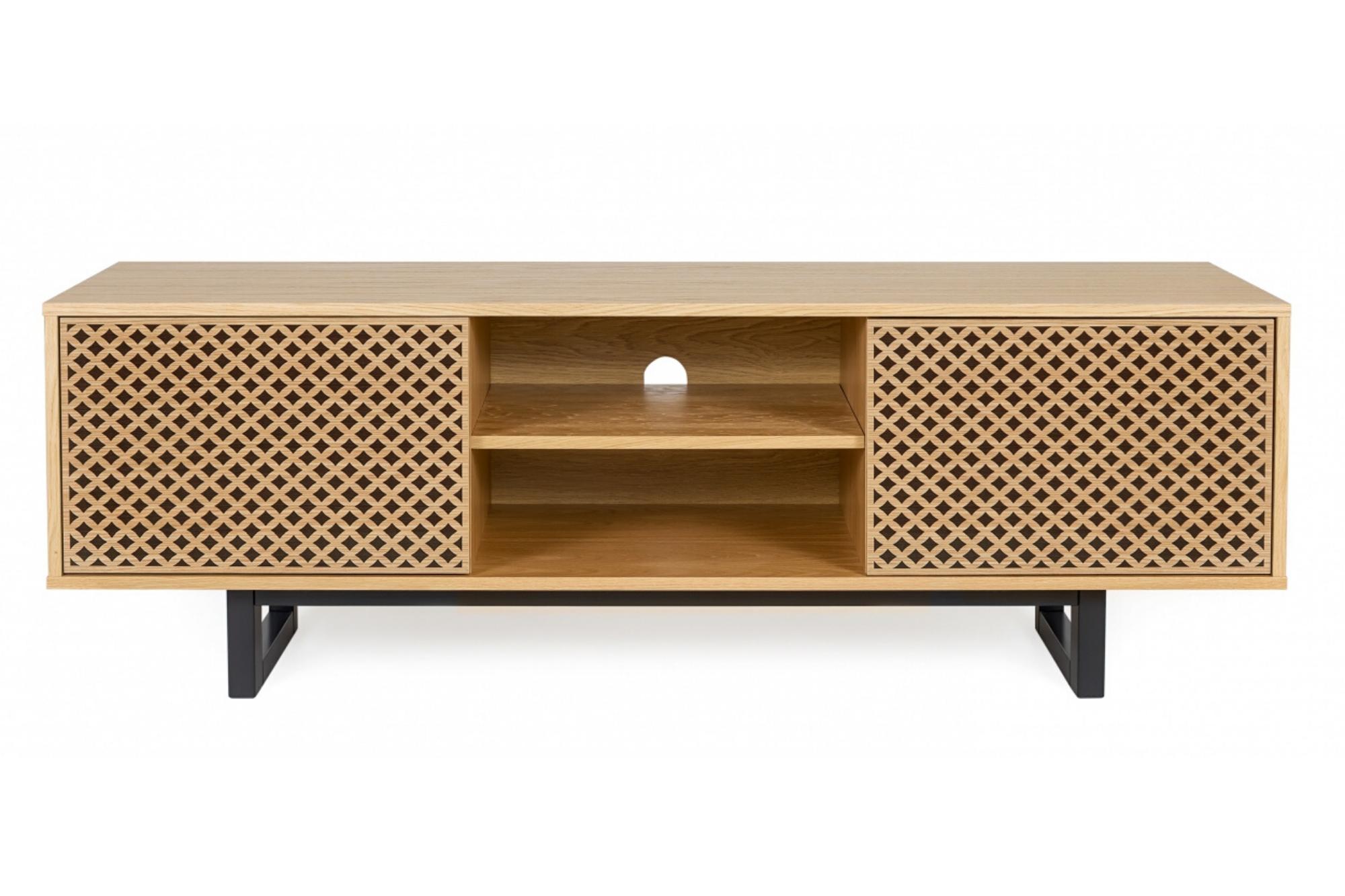 meuble tv scandinave en bois 2 portes et 1 niche centrale