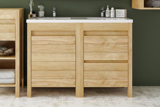 Meuble de salle de bain L120 bois massif double vasque + 1 porte + 2 tiroirs - CORK