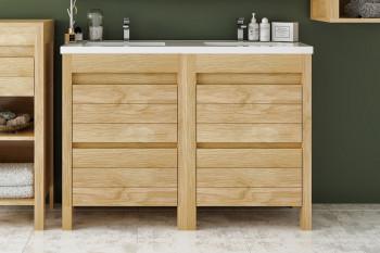 Meuble de salle de bain L120 bois massif double vasque + 4 tiroirs - CORK